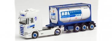 "Herpa 313162  Scania CS 20 HD Tankcontainer-Sattelzug ""BBLogistics"""