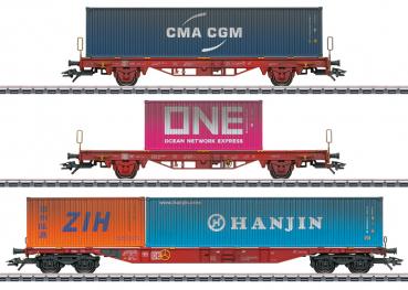 Märklin 47580  Container-Tragwagen-Set, DB-AG, 3-tlg.