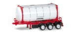 Herpa 076678  26 ft. Containerchassis mit Swapcontainer, weiß/rot